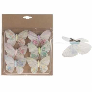 6x kerstversieringen vlinders op clip gekleurd 10 cm