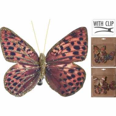 6x kerstversieringen vlinders op clip rood/bruin/goud 10 cm