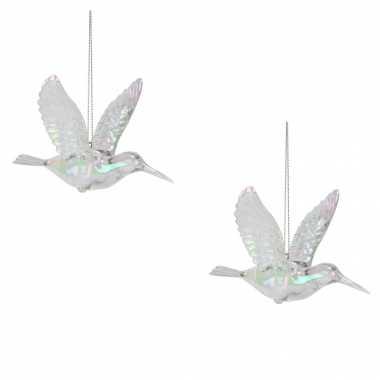 6x kolibrie vogels kersthanger figuurtjes acryl 7 cm