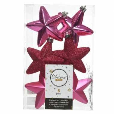 6x kunststof sterren kerstballen glans/mat/glitter fuchsia roze 7 cm