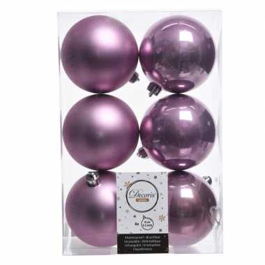 6x lila paarse kerstballen van kunststof 8 cm