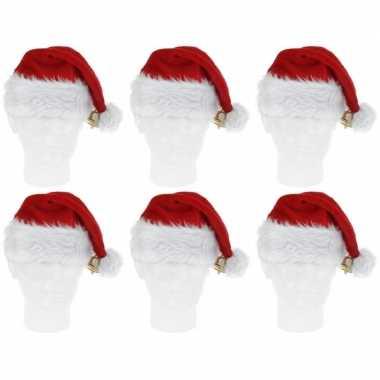 6x pluche kerstmutsen met bel deluxe
