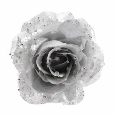6x zilveren glitter rozen met clip kerstbloemen