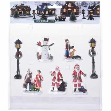 7x kerstdorp mensen set type 3 kerstman/sneeuwpop