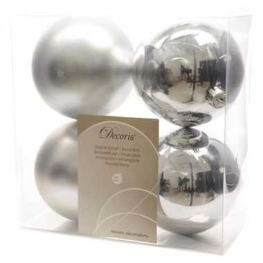 8-delige kerstballen set 10 cm zilver