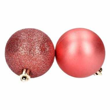 8 delige kunststof kerstballen set rood
