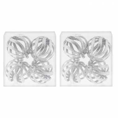 8x draad kerstballen zilver met glitter 8 cm van kunststof/plastic