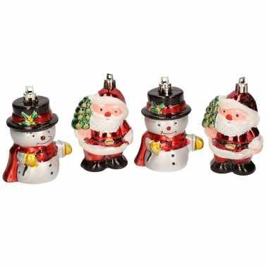 8x kersthangers figuurtjes sneeuwpop en kerstman kunststof 7,5 cm