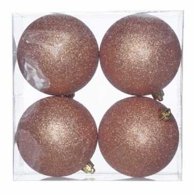 8x kunststof kerstballen glitter koper 10 cm kerstboom versiering/decoratie