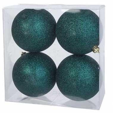 8x kunststof kerstballen glitter petrol blauw 10 cm kerstboom versiering/decoratie