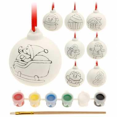8x zelf kerstballen beschilderen set