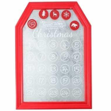 Aftelbord met magneten kerst decoratie rood 31 x 45 cm