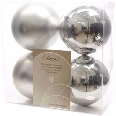 Ambiance christmas kerstboom decoratie kerstballen 10 cm zilver 4 stu