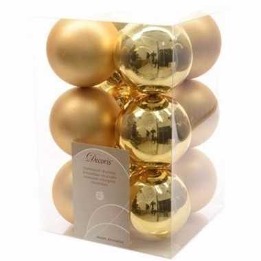 Ambiance christmas kerstboom decoratie kerstballen goud 12 stuks