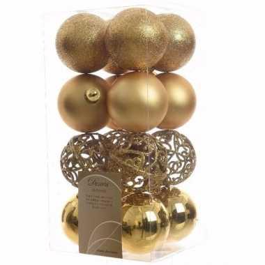 Ambiance christmas kerstboom decoratie kerstballen goud 16 stuks