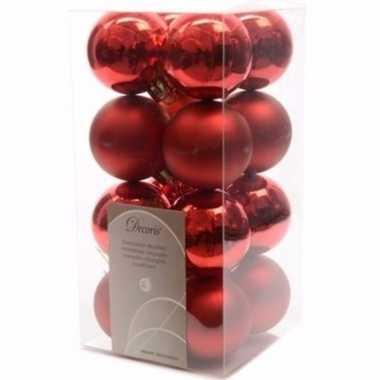 Ambiance christmas kerstboom decoratie kerstballen rood 16 stuks