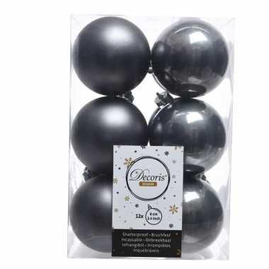 Antraciet kerstballen van kunststof 6 cm