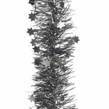 Antraciet kerstboom folie slinger met ster 270 cm