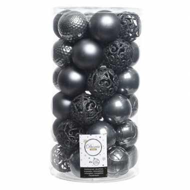 Antraciete kerstballen set 6 cm 36 stuks