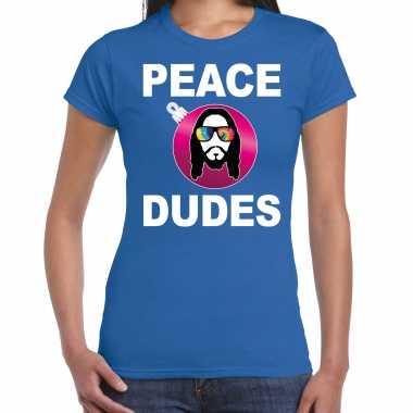 Blauw kerstshirt / kerstkleding peace dudes voor dames met social media kerstbal
