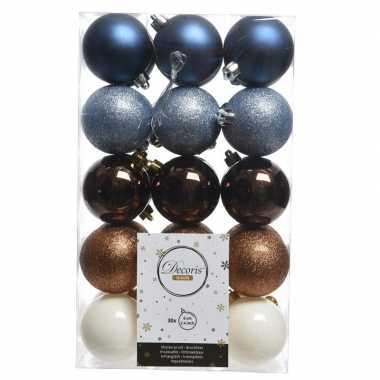 Blauw/wit/bruine kerstballen set 6 cm