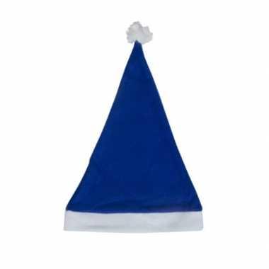 Blauwe budget kerstmuts voor volwassenen