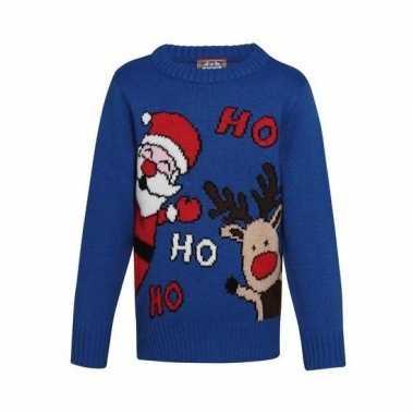 Blauwe kerst sweater ho ho ho voor kinderen