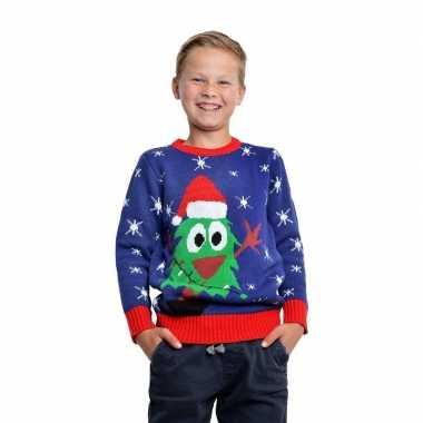 Blauwe kerst sweater met kerstboom voor kinderen