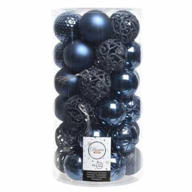 Blauwe kerstballen set 6 cm 36 stuks
