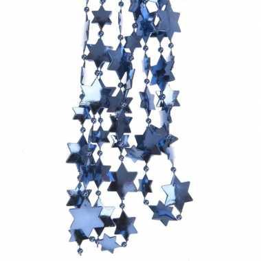 Blauwe kerstboom sterren kralenketting 270 cm