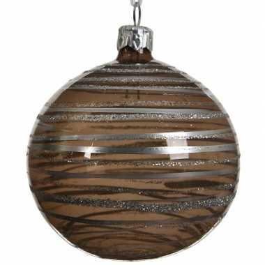 Bruine kerstballen transparant 8 cm