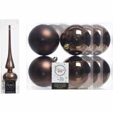 Bruine kerstversiering/kerstdecoratie set piek en 12x kerstballen 10
