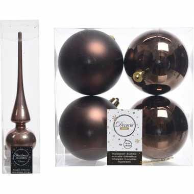 Bruine kerstversiering/kerstdecoratie set piek en 4x kerstballen 10 c