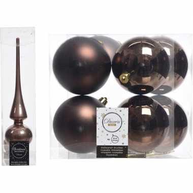 Bruine kerstversiering/kerstdecoratie set piek en 8x kerstballen 10 c