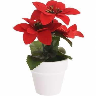 Budget kunstplanten rode kerststerren met pot 16 cm