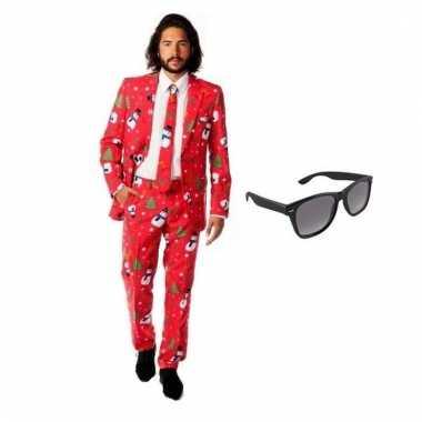 Carnavalskostuum heren kerst print pak 48 m met gratis zonnebril