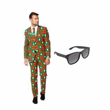 Carnavalskostuum kerst print heren pak 54 (xxl) met gratis zonnebril