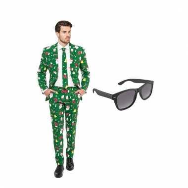 Carnavalskostuum kerst print heren pak 56 xxxl met gratis zonnebril 10104669