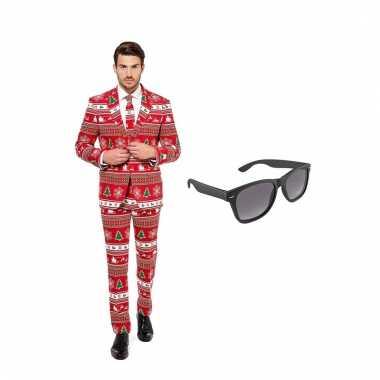 Carnavalskostuum kerstboom print heren pak 52 xl met gratis zonnebril
