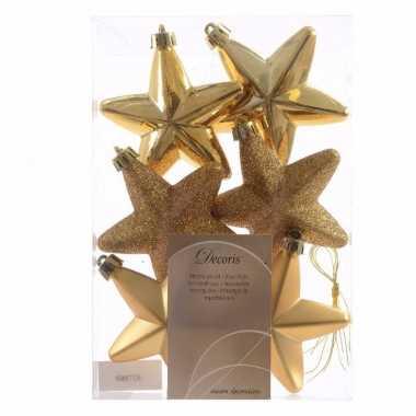 Chique christmas gouden kerststerren 6 stuks
