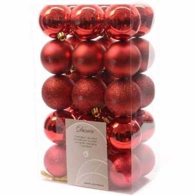 Christmas red kerstboom decoratie kerstballen 6 cm rood 30 stuks