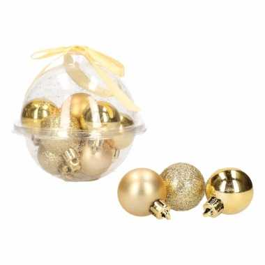 Classic gold 12-delige mini kerstballenset goud 3 cm