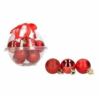 Classic red 12-delige mini kerstballenset rood 3 cm