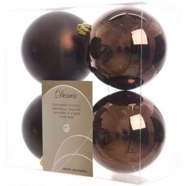 Cosy christmas kerstboom decoratie kerstballen 10 cm bruin 4 stuks