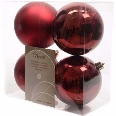 Cosy christmas kerstboom decoratie kerstballen 10 cm donkerrood 4 stu