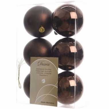 Cosy christmas kerstboom decoratie kerstballen bruin 6 stuks