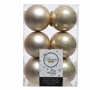 Creme kerstballen van kunststof 6 cm