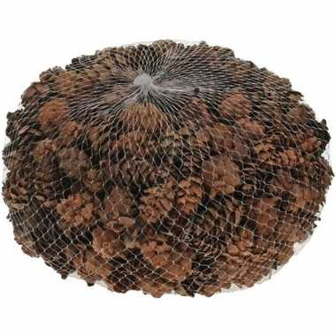 Decoratie dennenappeltjes bruin 300 gram 3 cm herfststukje/kerststukj