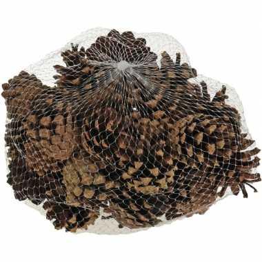 Decoratie dennenappeltjes bruin 300 gram 5 cm herfststukje/kerststukj