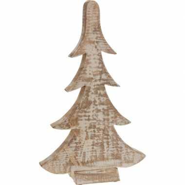 Decoratie kerstboom bruin/wit van hout 42 cm